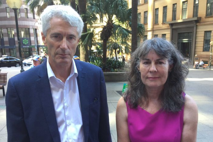 Anthony and Chrissie Foster outside the Royal Commission into Institutional Responses to Child Sexual Abuse in 2017.