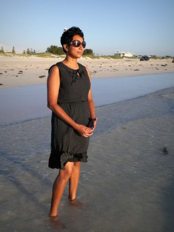 Chamari Liyanage at the beach at Geraldton. 4 March 2017