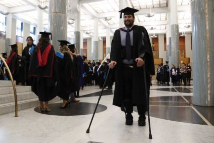 Image result for paraplegic walking at graduation