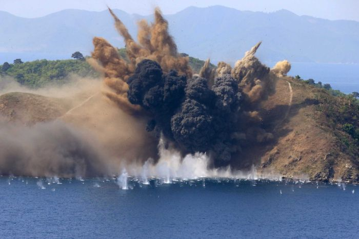 A large explosion in North Korea as part of a military drill.