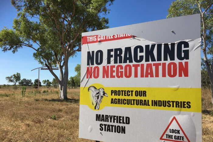 "A sign reads ""no fracking, no negotiation"""