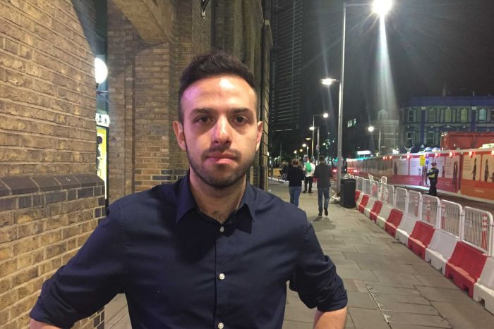 Dario stands on a London street after witnessing the London Bridge attack