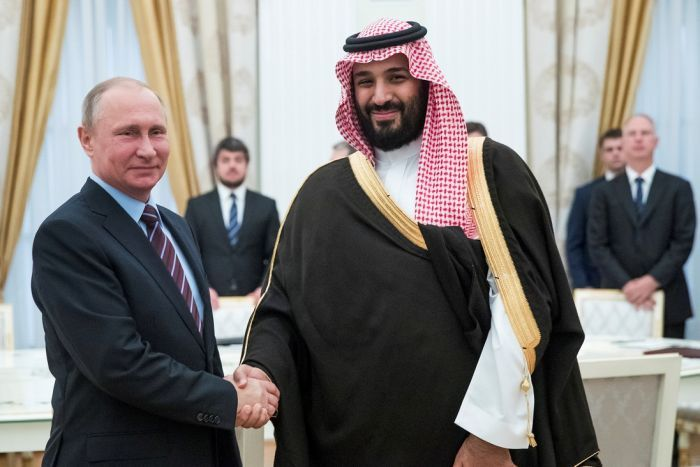 Russian President Vladimir Putin smiles and shakes hands with Mohammed bin Salman during a meeting.