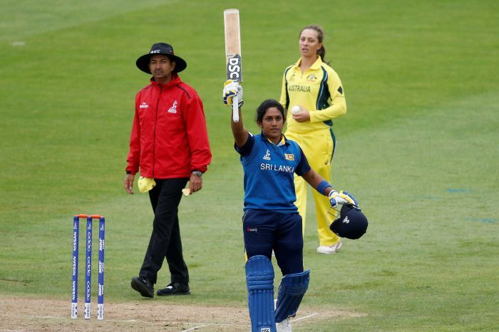 Sri Lanka's Chamari Atapattu gets a century against Australia at 20217 Women's Cricket World Cup.