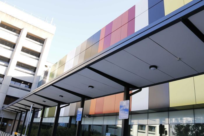 Colourful cladding at the Centenary Hospital for Women and Children in Canberra.