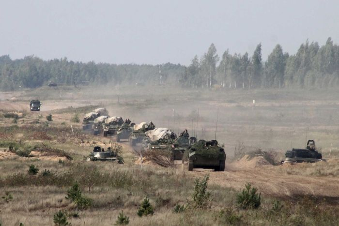 A military convoy arrives to a training ground in Belarus, where they will hold joint war games with Russia.