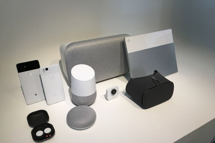 Google products sit on a table.