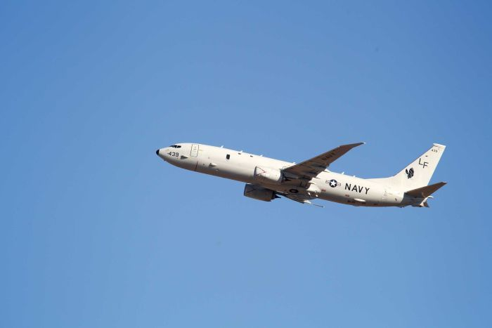 A United States Navy Boeing P-8 Poseidon takes off from Perth International airport