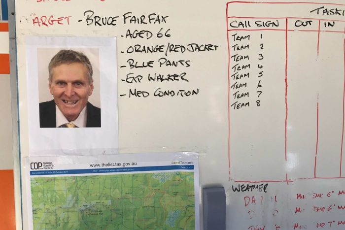 Information board for searchers looking for Bruce Fairfax near Duckhole Lake.