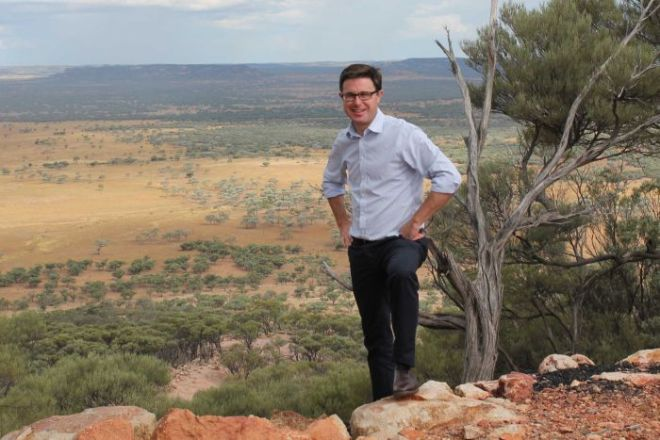 David Littleproud stands over the hills in Maranoa.