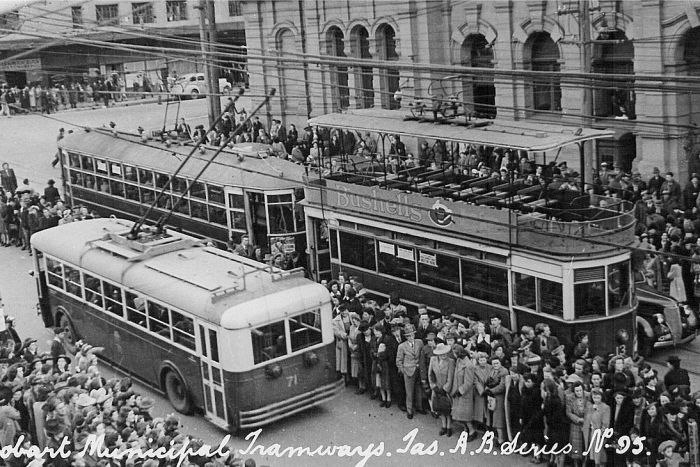 Old photo of trams and a trolley bus in Hobart.