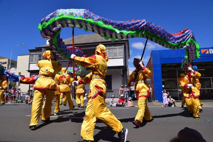 Dragon at the Hobart Christmas pageant.