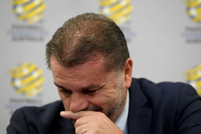 Ange Postecolou holds back the emotion during press conference