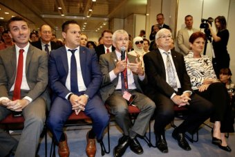 From left to right, One Nation's James Ashby, Peter Georgiou, Malcolm Roberts, Brian Burston and Pauline Hanson.