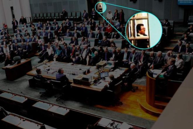 George Christensen is seen in an enhanced image outside the chamber.