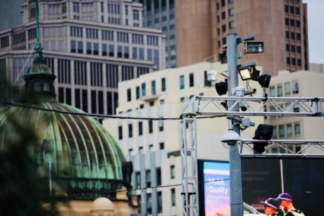 Security cameras at Federation Square in Melbourne's CBD.