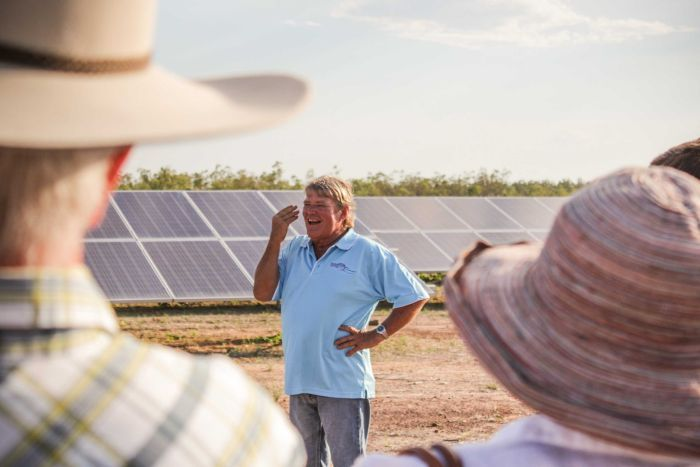 Doug Scouller smiling at the crowd at the opening of the Normanton Solar farm.