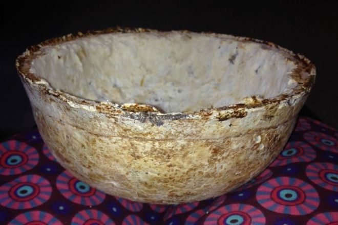 Bowl made out of coffee grounds and fungi mycelium