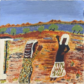 A painting of two women in the bush.