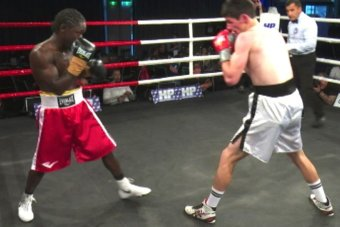 Victor Odindo in a boxing match