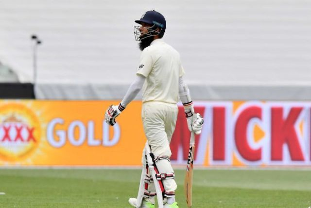 Moeen Ali trudges off at the MCG