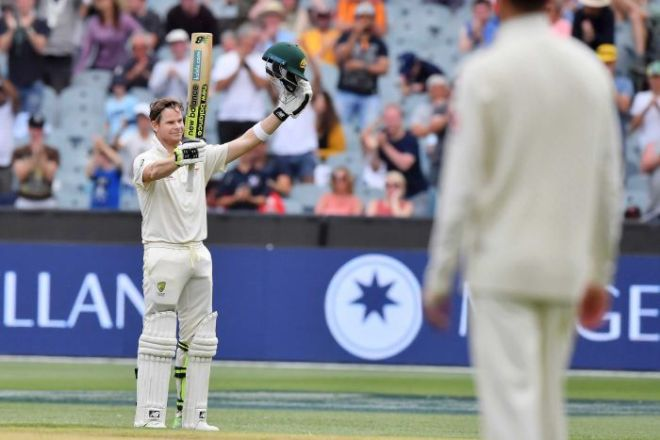 Steve Smith celebrates MCG century on day five against England.