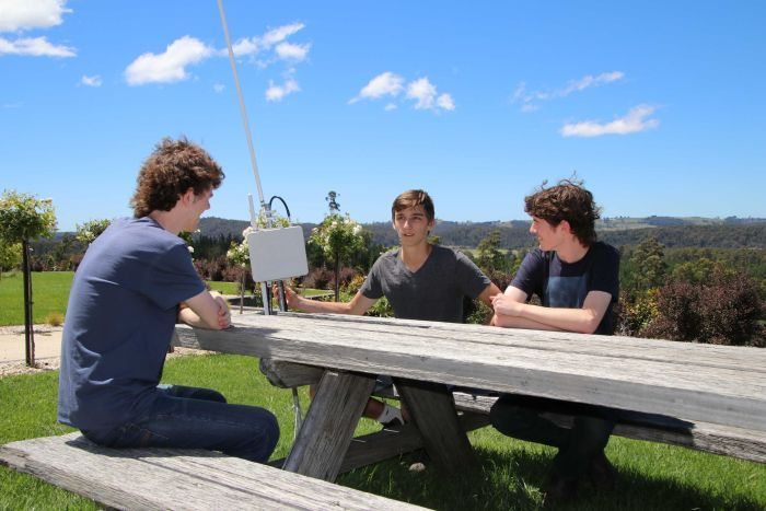 (left to right) Jack Kelly, Caleb Anderson and Rory Kelly have developed software that allows farmers to control farm machinery from their smart phones