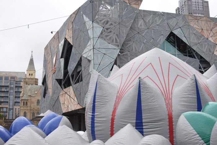 The sculpture as seen from the outside in Federation Square.