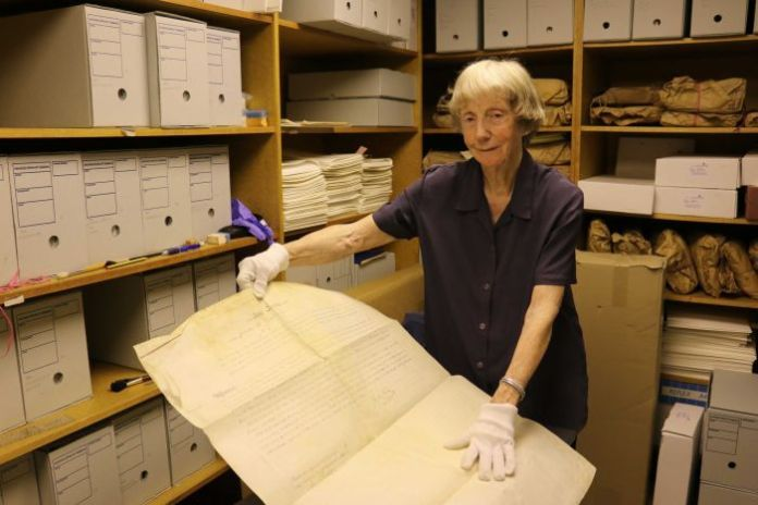 Supreme Court librarian Dorothy Shea at work in the storeroom