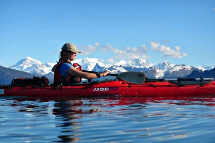 Lucy Barnard kayaking
