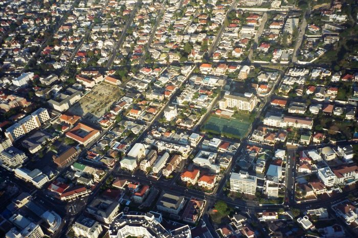 Aerial of Cape Town suburbs