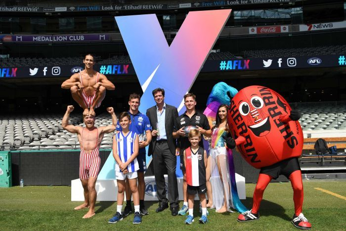 AFL CEO Gillon McLachlan a poses for photographers at the launch of AFLX in Melbourne.
