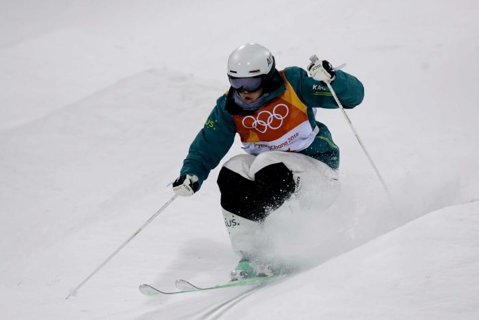 Australia's Jakara Anthony in action in women's moguls finals in the Pyeongchang Winter Olympics.