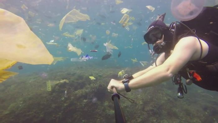 A popular diving spot in Bali is plagued with plastic pollution