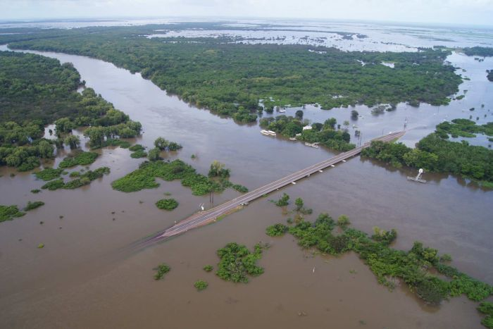 Aerial picture of a flooded Adelaide River, NT.