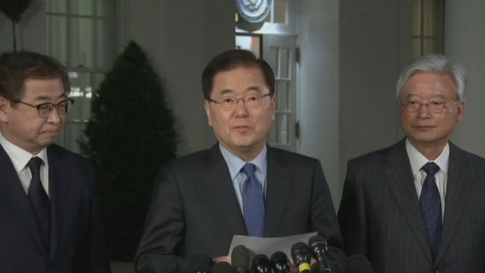 South Korea's top security adviser makes the announcement at the White House