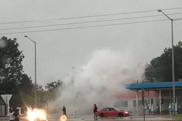 Gas leaks from a service station in Coolalinga