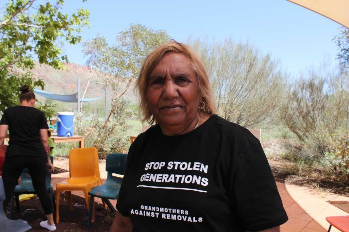 A grandmother against Stolen Generations in Alice Springs.