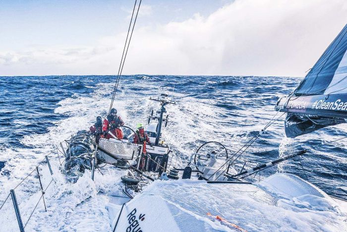 Sun Hung Kai Scallywag sailing in rough conditions