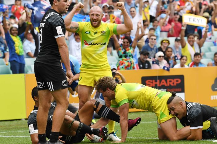 James Stannard celebrates an Australian try during this year's Sydney 7's rugby competition