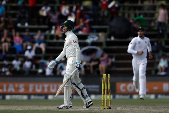 Peter Handscomb walks off after being bowled in Johannesburg