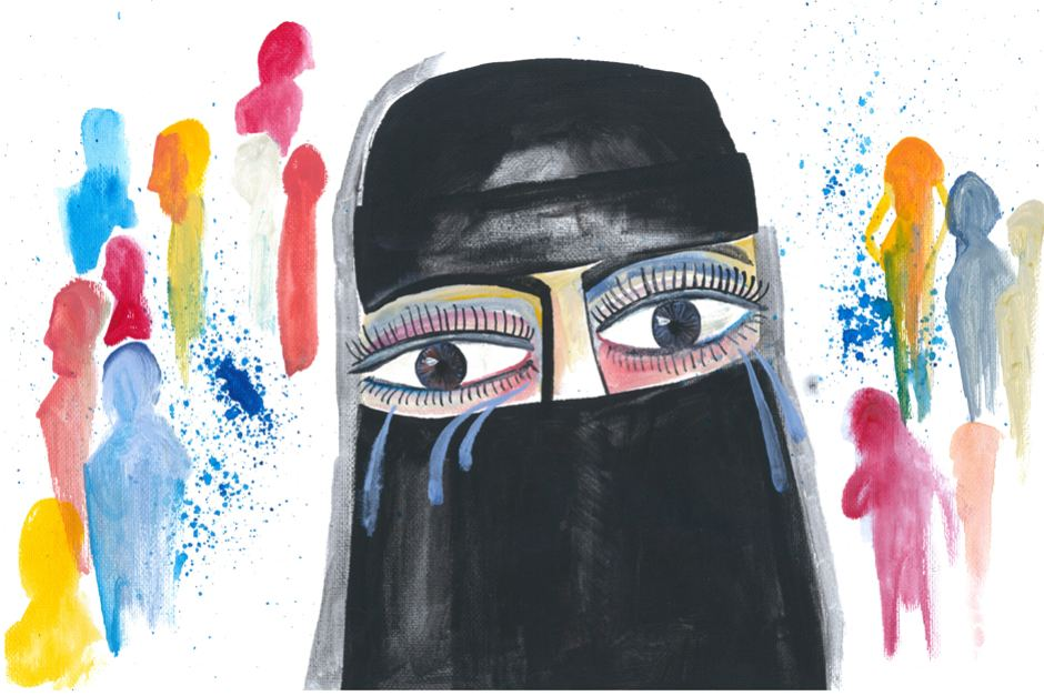 An illustration shows a woman wearing a niqab, crying.