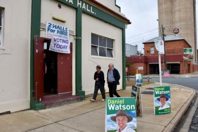 Shepparton locals head into a polling booth for the National Party's community preselection in Maroopna.