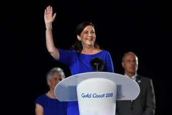 Queensland Premier Annastacia Palaszczuk speaks on stage during the closing ceremony of the XXI Commonwealth Games