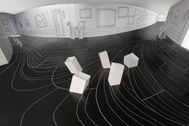 Black and white gallery space with illustrated walls, geometric furniture and lines on floor.