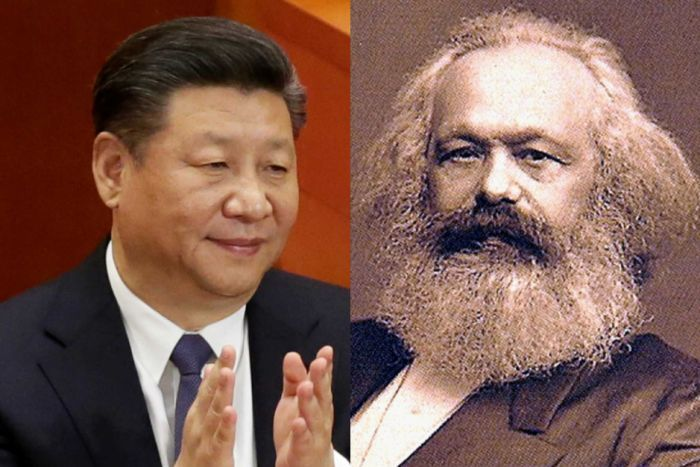 Chinese President Xi Jinping and German philosopher Karl Marx.