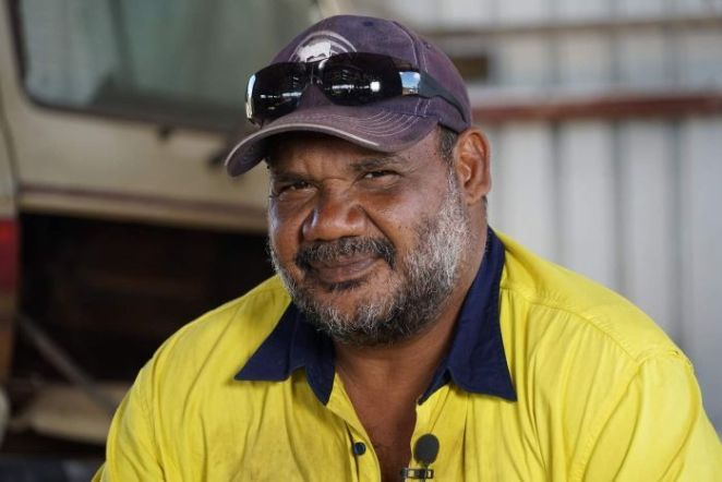 Barunga resident Conway Bush looks into the camera.