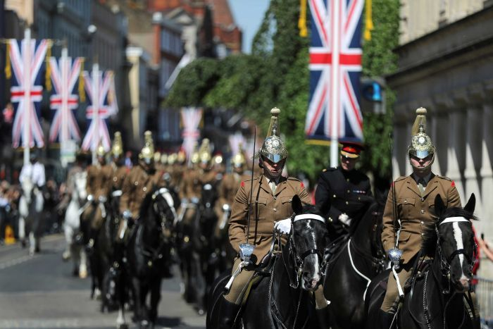 Royal wedding procession through streets of Windsor