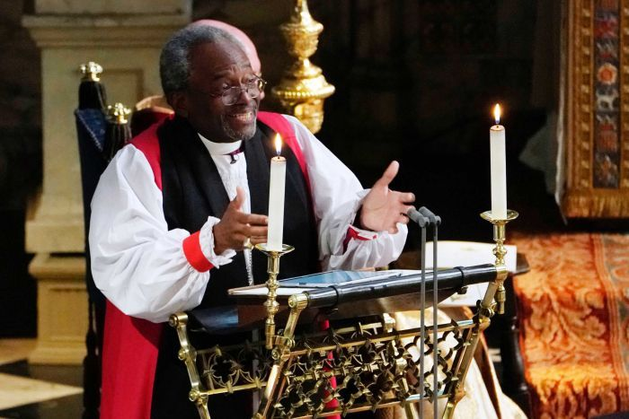 The Most Rev Bishop Michael Curry speaks during the wedding ceremony.