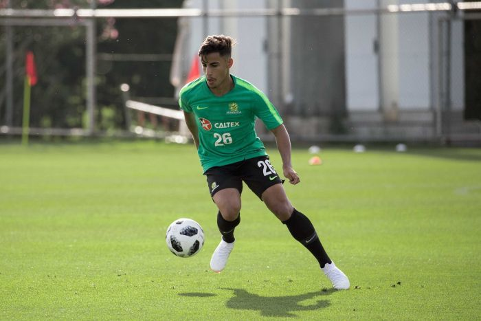 Supplied image of Socceroos player Daniel Arzani during a World Cup training camp in Turkey.
